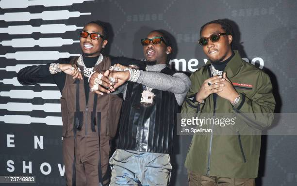 Rappers Takeoff Offset and Quavo attend the Savage x Fenty arrivals during New York Fashion Week at Barclays Center on September 10 2019 in New York...