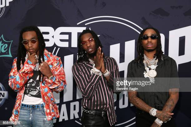 Rappers Takeoff Offset and Quavo of Migos attend the BET Hip Hop Awards 2017 at The Fillmore Miami Beach at the Jackie Gleason Theater on October 6...