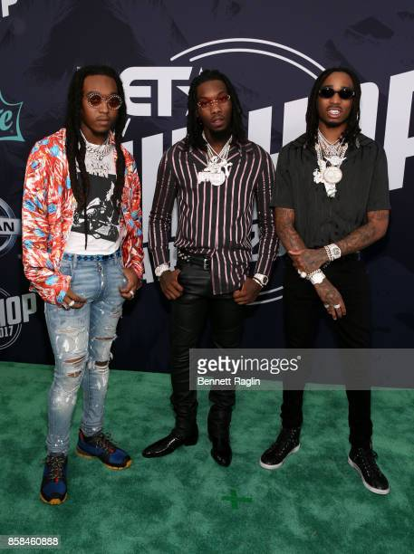 Rappers Takeoff, Offset, and Quavo of Migos attend the BET Hip Hop Awards 2017 at The Fillmore Miami Beach at the Jackie Gleason Theater on October...