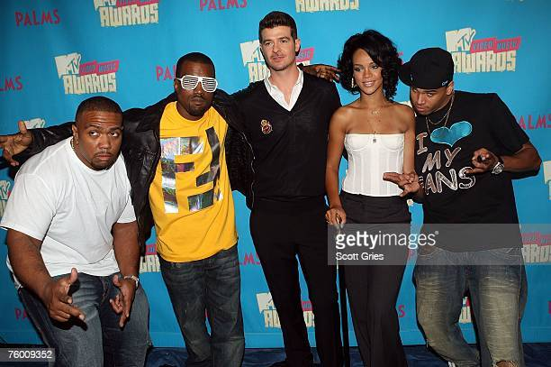Rappers Timbaland Kanye West Singers Robin Thicke Rihanna and Chris Brown pose for a photo during a special Video Music Awards nominee taping of...