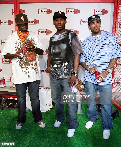Rappers Tony Yayo 50 Cent and Lloyd Banks attends Vitaminwater's MLB AllStar week celebration at Hudson Terrace on July 14 2008 in New York City