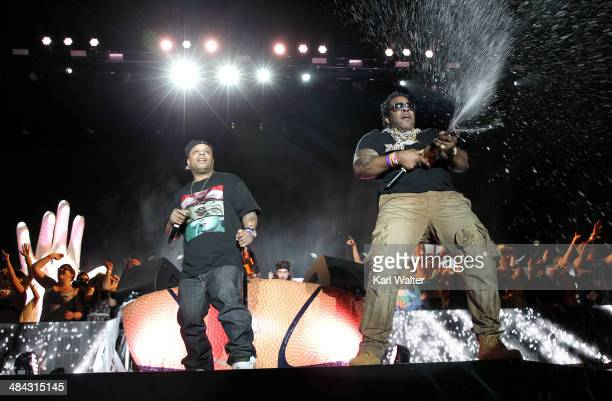 Rappers Too $hort and Busta Rhymes perform onstage during day 1 of the 2014 Coachella Valley Music Arts Festival at the Empire Polo Club on April 11...