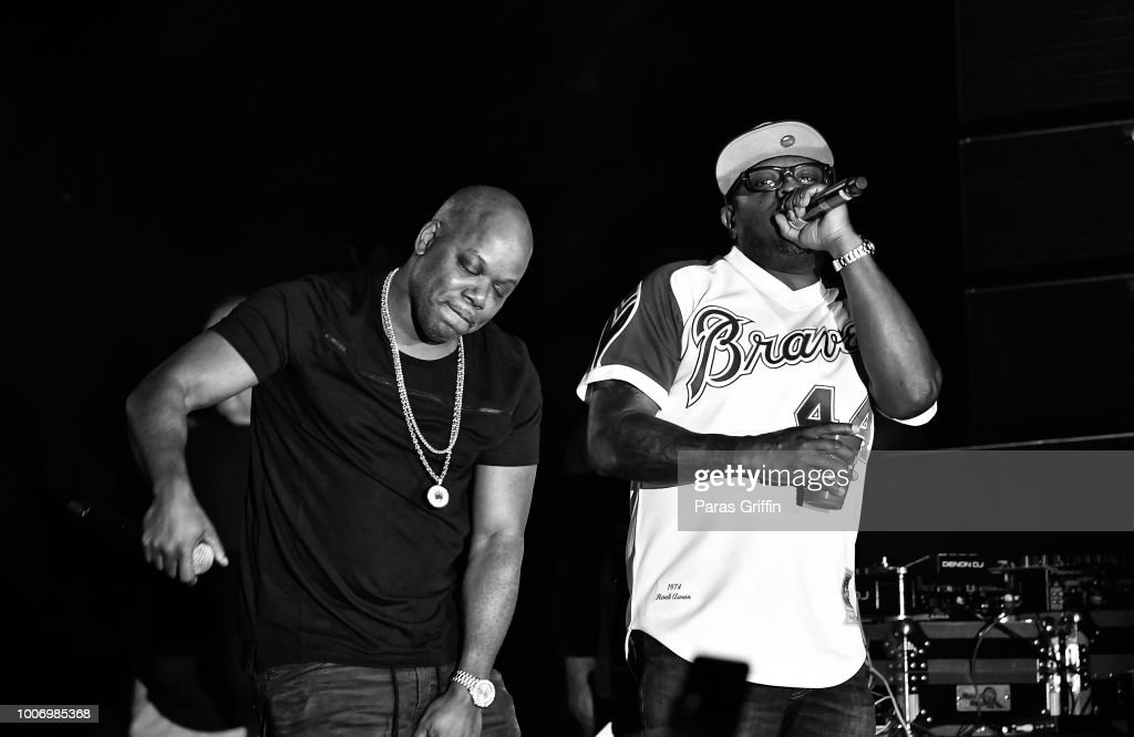 Rappers Too Short and Scarface perform onstage during 'The Legends of Hip-Hop' concert at Wolf Creek Amphitheater on July 28, 2018 in Atlanta, Georgia.
