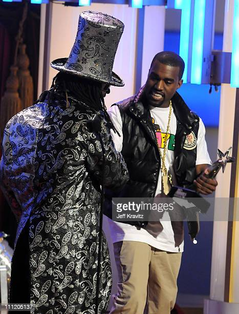 Rappers T-Pain and Kanye West on stage during the 2008 BET Awards at the Shrine Auditorium on June 24, 2008 in Los Angeles, California.
