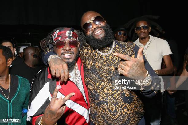 Rappers TPain and Rick Ross attend the BET Hip Hop Awards 2017 at The Fillmore Miami Beach at the Jackie Gleason Theater on October 6 2017 in Miami...
