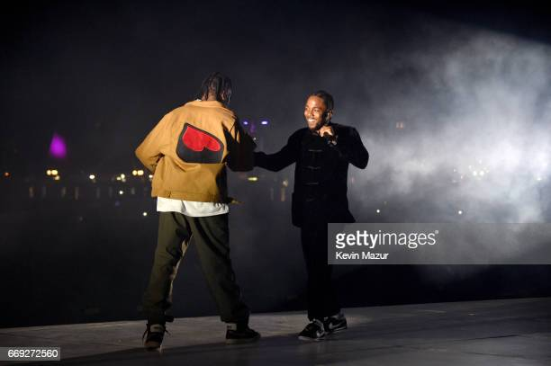 Rappers Travis Scott and Kendrick Lamar perform on the Coachella Stage during day 3 of the Coachella Valley Music And Arts Festival at the Empire...