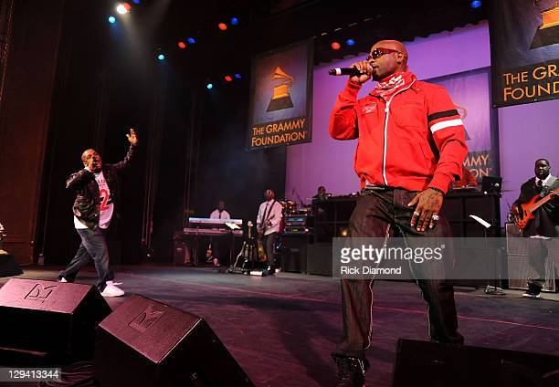 Rappers Treach and Vin Rock of rap group Naughty by Nature perform at the 53rd Annual GRAMMY Awards Music Preservation Project Word Revolution at the...