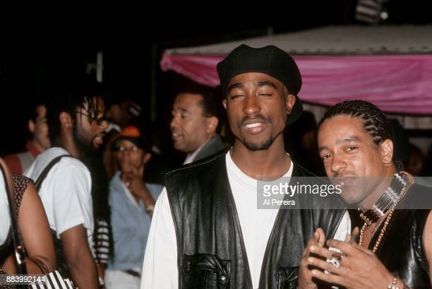 Rappers Tupac Shakur and Freedom Williams pose for a portrait at Club Amazon on July 23 1993 in New York New York