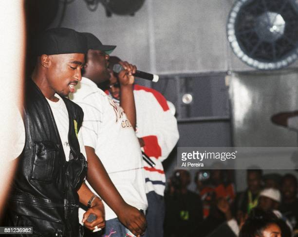 Rappers Tupac Shakur The Notorious BIG aka Biggie Smalls and Puff Daddy perform onstage at the Palladium on July 23 1993 in New York New York