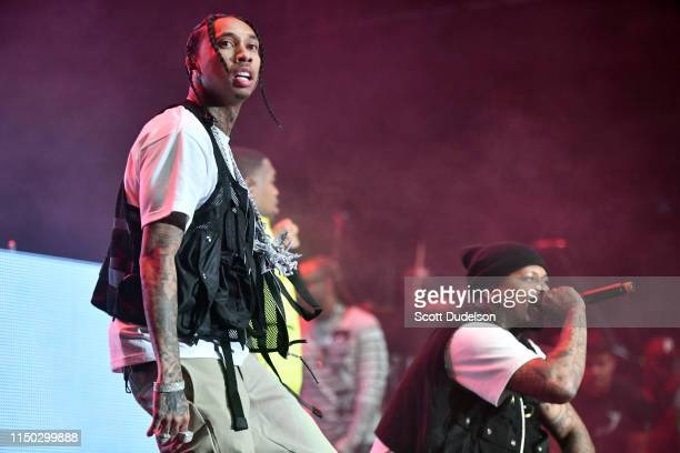 Rappers Tyga and YG perform onstage during The Liftoff presented by Power 106 at FivePoint Amphitheatre on May 18 2019 in Irvine California