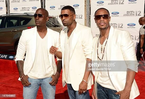 Rappers Tyrese Gibson Ginuwine and Tank of TGT arrive at the 2012 BET Awards at The Shrine Auditorium on July 1 2012 in Los Angeles California