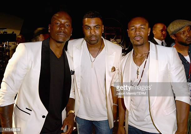 Rappers Tyrese Gibson Ginuwine and Tank of TGT attend the 2012 BET Awards at The Shrine Auditorium on July 1 2012 in Los Angeles California