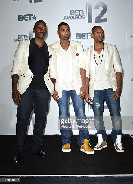 Rappers Tyrese Gibson Ginuwine and Tank of TGT pose in the press room at the 2012 BET Awards at The Shrine Auditorium on July 1 2012 in Los Angeles...