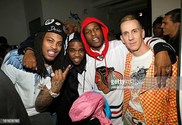 Rappers Waka Flocka Asap Ferg A$AP Rocky and designer Jeremy Scott backstage at the Jeremy Scott fall 2013 fashion show during MADE Fashion Week at...