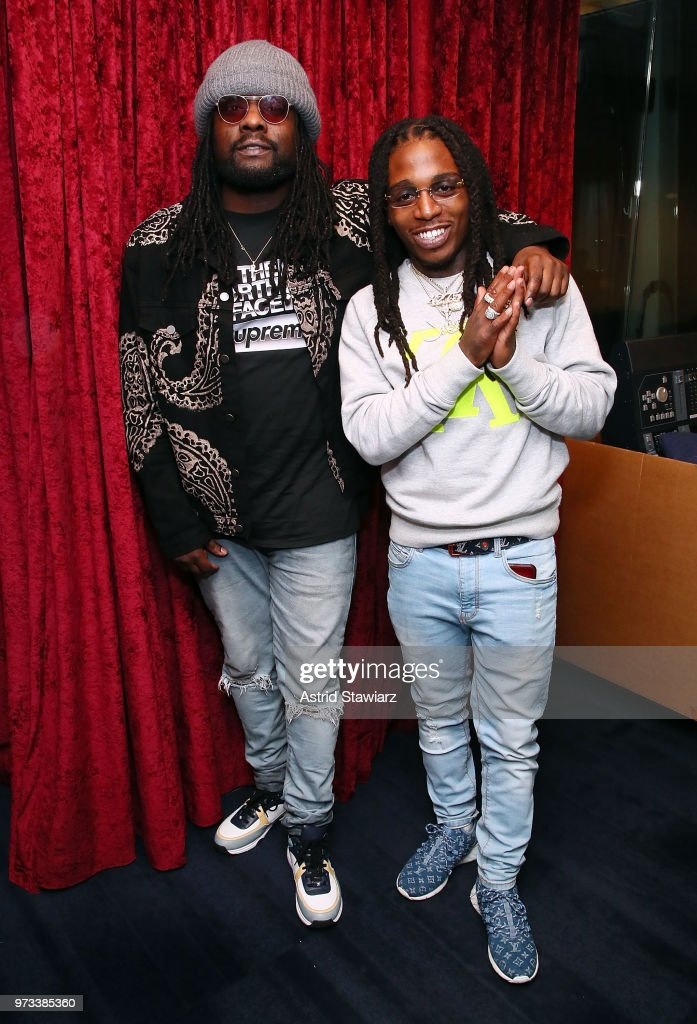 Rappers Wale and Jacquees visit the SiriusXM Studios on June 13, 2018 in New York City.