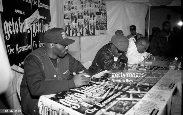 Rappers Willie D Bushwick Bill and Scaarface from The Geto Boys signs autographs for fans at George's Music Room in Chicago Illinois in April 1996