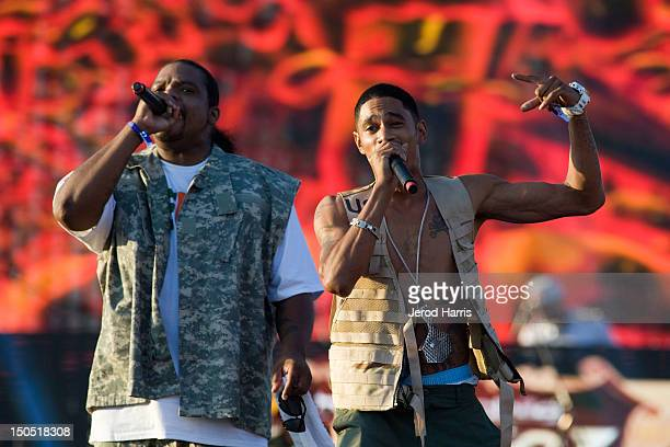 Rappers Wish Bone and and Krayzie Bone of Bone ThugsnHarmony perform at Rock The Bells Music Festival at NOS Events Center on August 19 2012 in San...