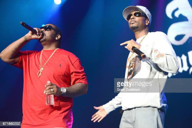 Rappers Wish Bone and Krayzie Bone of Bone Thugsn Harmony perform onstage during the 935 KDAY Krush Groove 2017 concert at The Forum on April 22 2017...