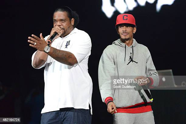 Rappers Wish Bone and Layzie Bone of Bone ThugsNHarmony perform onstage at Irvine Meadows Amphitheatre on July 18 2015 in Irvine California
