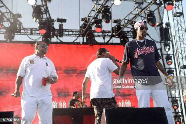 Rappers Wish Bone FleshnBone and Krayzie Bone of Bone Thugs N Harmony perform onstage during Summertime in the LBC festival on August 5 2017 in Long...