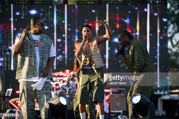 Rappers Wish Bone Layzie Bone and FleshnBone of Bone ThugsnHarmony perform at Rock The Bells Music Festival at NOS Events Center on August 19 2012 in...