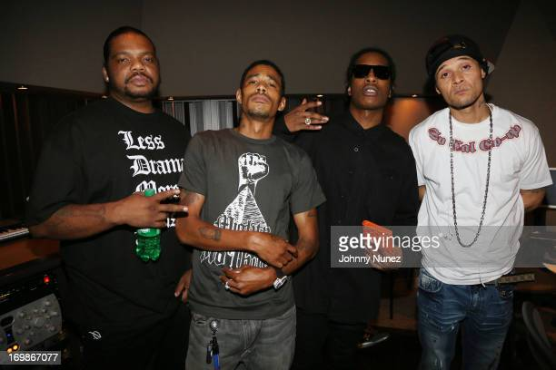 Rappers Wish Bone Layzie Bone of Bone ThugsNHarmony A$AP Rocky and Bizzy Bone of Bone ThugNHarmony attend a studio session at Germano Studios on June...