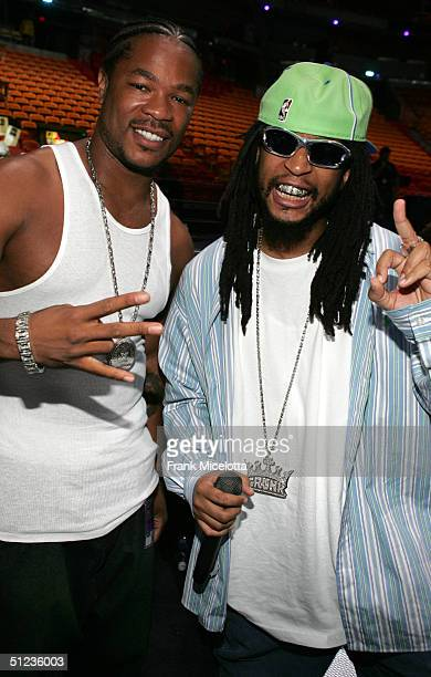 Rappers Xzibit and Lil Jon pose for a photo during rehearsals for the MTV Video Music Awards 2004 at the American Airlines Arena August 28 2004 in...