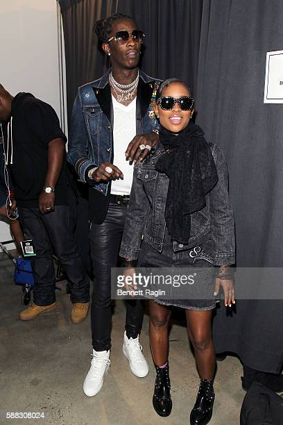 Rappers Young Thug and DeJ Loaf attend the BET How To Rock Denim show Inside at Milk Studios on August 10 2016 in New York City