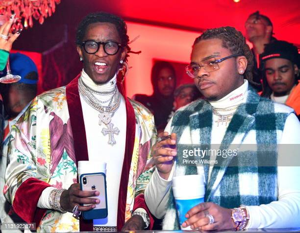 Rappers Young Thug and Gunna attend Gunna Drip or Drown 2 album release party at Compound on February 24 2019 in Atlanta Georgia