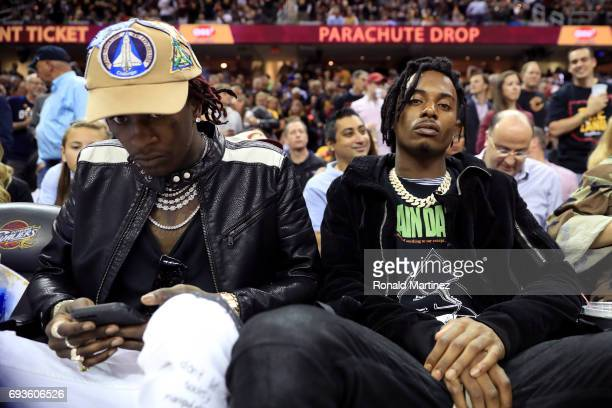Rappers Young Thug and Playboi Carti attend Game 3 of the 2017 NBA Finals between the Golden State Warriors and the Cleveland Cavaliers at Quicken...