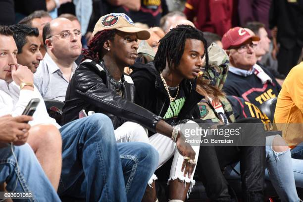 Rappers Young Thug and Playboy Carti attends Game Three of the 2017 NBA Finals on June 7 2017 at Quicken Loans Arena in Cleveland Ohio NOTE TO USER...