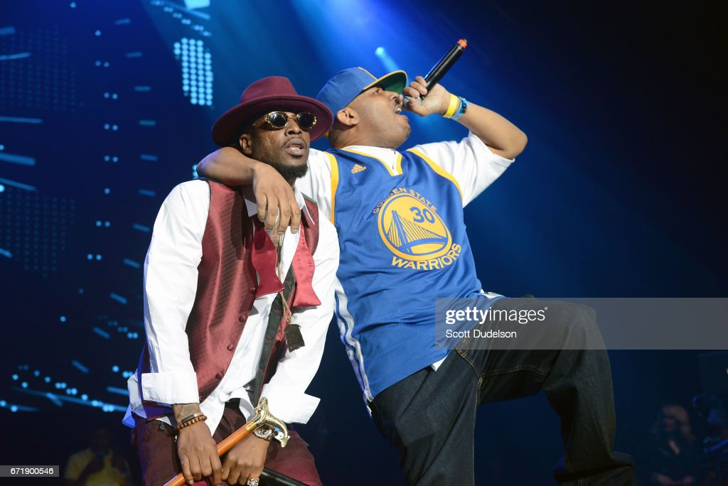 Rappers Yukmouth (L) and Numskull (R) from Luniz perform onstage during the 93.5 KDAY Krush Groove 2017 concert at The Forum on April 22, 2017 in Inglewood, California.