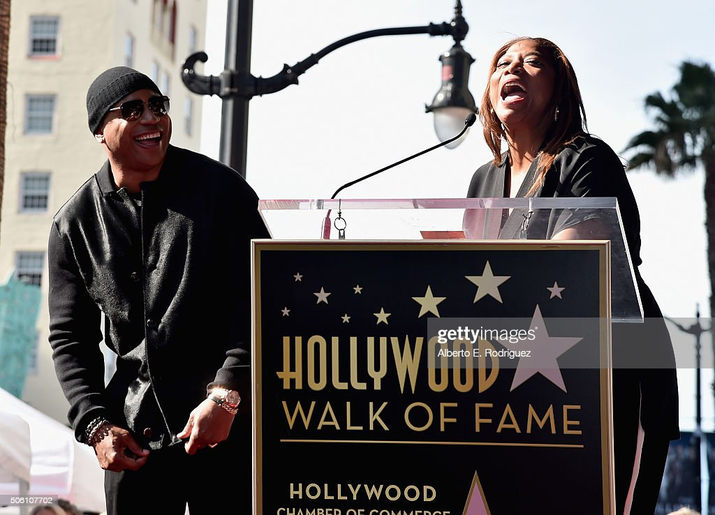 Rappers/actors LL Cool J and Queen Latifah attend a ceremony honoring LL Cool J with the 2,571st Star on The Hollywood Walk of Fame on January 21, 2016 in Hollywood, California.