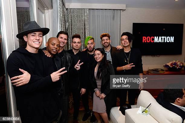 Rapper/singer Matt Rey of Los 5 Roc Nation CoFounder Tyran 'Tata' Smith music manager Terry Anzaldo singer Juan Pablo Castillo drummer Tomas Slemson...