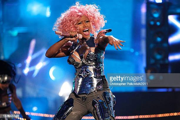 Rapper/singer Nicki Minaj performs onstage at the 2011 American Music Awards held at Nokia Theatre L.A. LIVE on November 20, 2011 in Los Angeles,...
