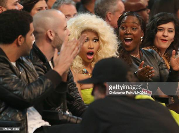 Rapper/singer Nicki Minaj poses in the audience at the 40th American Music Awards held at Nokia Theatre LA Live on November 18 2012 in Los Angeles...