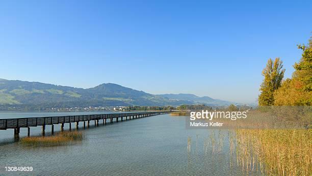 Rapperswil - wooden bridge over the lake zurich - canton of St. Gallen, Switzerland, Europe.
