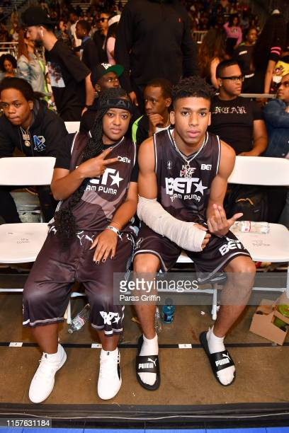 Rapsody and NLE Choppa attends the BETX Celebrity Basketball Game Sponsored By Sprite during the BET Experience at Los Angeles Convention Center on...