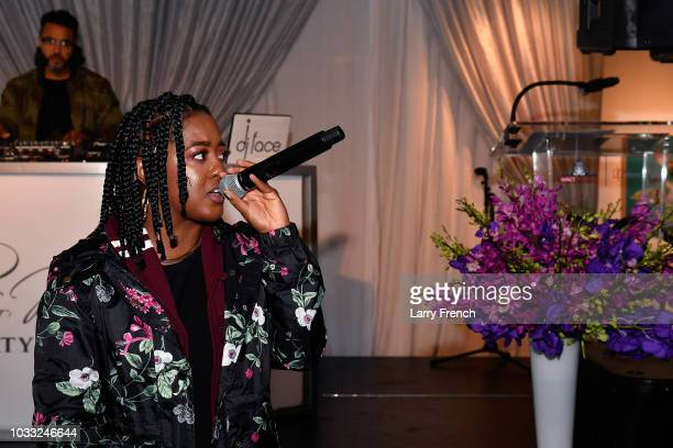 Rapsody performs at IMPACT Strategies and DP Creative Strategies Tech Media day party and brunch at Longview Gallery on September 14 2018 in...