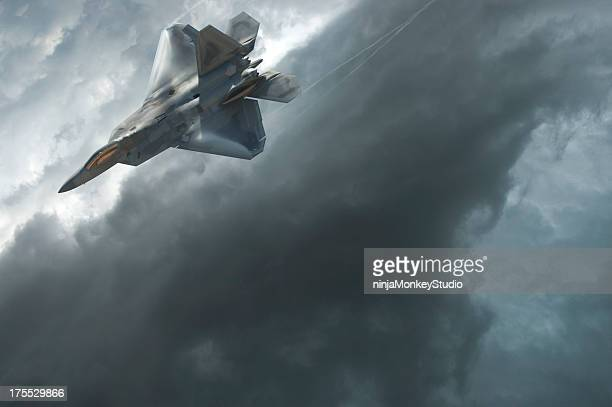 F-22 Raptor Dives Through a Dramatic Stormy Sky