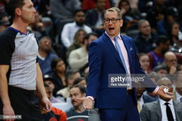 Raptor head coach Nick Nurse continues his plea with referee Ray Acosta Toronto Raptors vs New Orleans Pelicans in 1st half action of NBA regular...