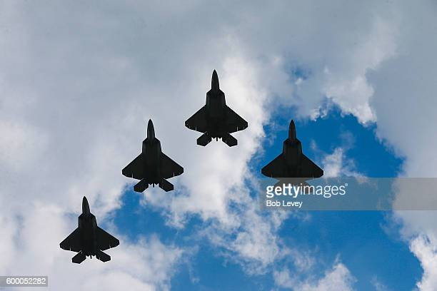 Raptor jets fly over Kyle Field before a football game between the UCLA Bruins and Texas AM Aggies on September 3 2016 in College Station Texas