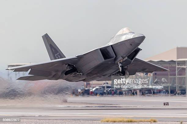 A F-22 Raptor of the U.S. Air Force launches from Nellis Air Force Base, Nevada.