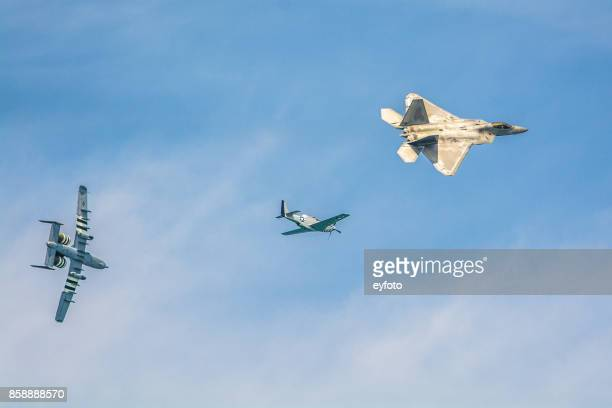 f-22 raptor p-51 mustang a-10 thunderbolt ii - p 51 mustang stock photos and pictures