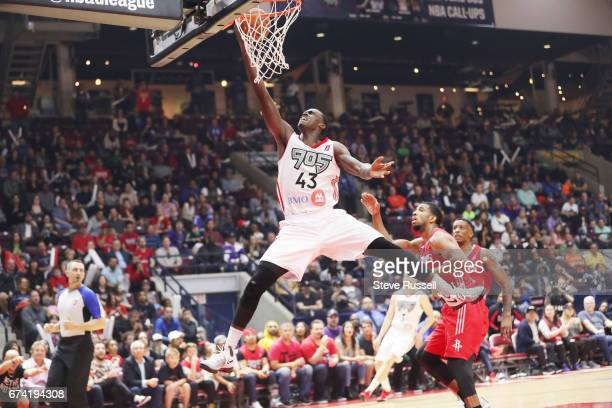 MISSISSAUGA APRIL 27 Raptors 905 forward Pascal Siakam goes up for a basket as the Raptors 905 beat the Rio Grande Valley Vipers 12296 to win theNBA...