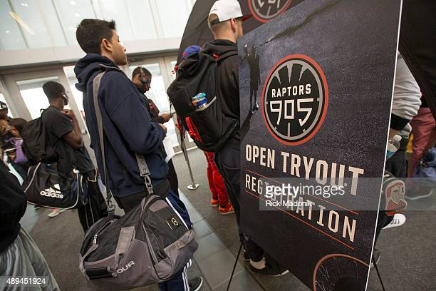 MISSISSAUGA ON SEPTEMBER 19 2015 Raptors 905 is an open tryout for the Toronto Raptors new D League team which will play in Mississauga at the Hersey...