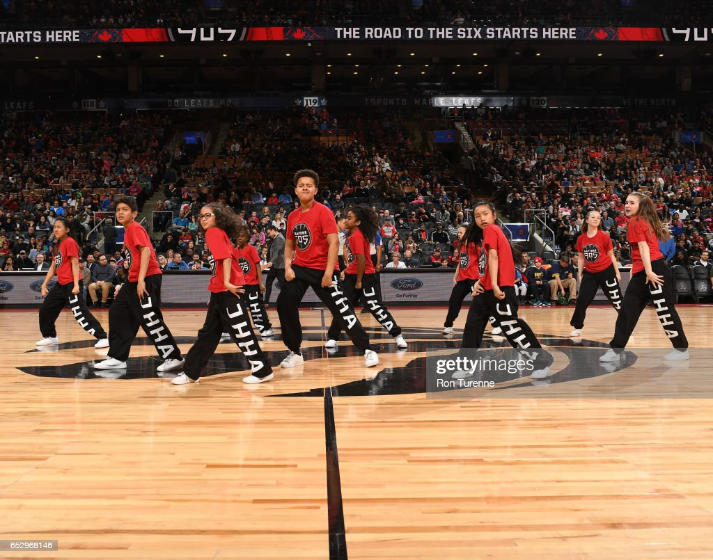 Raptors 905 Kids dance during halftime during the game against the Austin Spurs at the Air Canada Centre on March 13, 2017 in Toronto, Ontario, Canada.