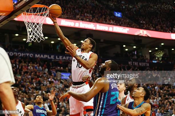 TORONTO ON APRIL 5 Raptors' DeMar DeRozan gets two points during first half action between the Toronto Raptors and Charlotte Hornets April 5 2016
