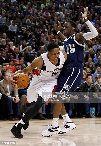 TORONTO MARCH 21 Raptors DeMar DeRozan heads for the baseline but is bumped by Thunder's Reggie Jackson and gets the foul Toronto Raptors vs Oklahoma...