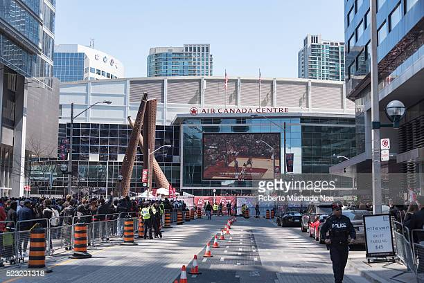 ACC TORONTO ONTARIO CANADA NBA Raptors fans outside ACC to watch play off game 1 The area is nicknamed Jurassic Park